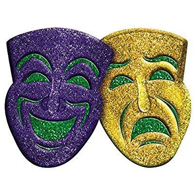 amscan 3d glitter comedy & tragedy mardi gras party mask wall ...