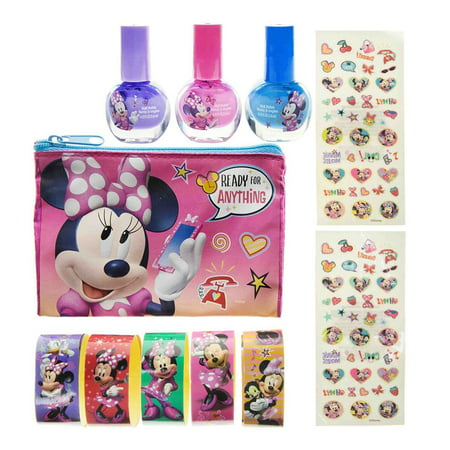 TownleyGirl Disney Junior Minnie Mouse Bowtique Cosmetic Nail Polish and Stickers Set Novelty Childrens Make Up (Minnie Mouse Nails For Halloween)