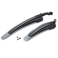 Light Plastic Bike Front and Rear Mud Guard Fender Set Gray