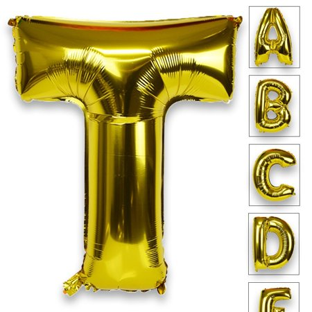 Just Artifacts Glossy Gold (30-inch) Decorative Floating Foil Mylar Balloons - Letter: T - Letter and Number Balloons for any Name or Number Combination! (Letter Mylar Balloons)