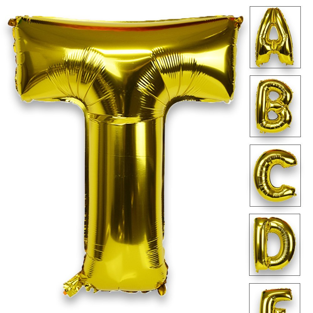 Just Artifacts Glossy Gold (30-inch) Decorative Floating Foil Mylar Balloons - Letter: T - Letter and Number Balloons for any Name or Number Combination!