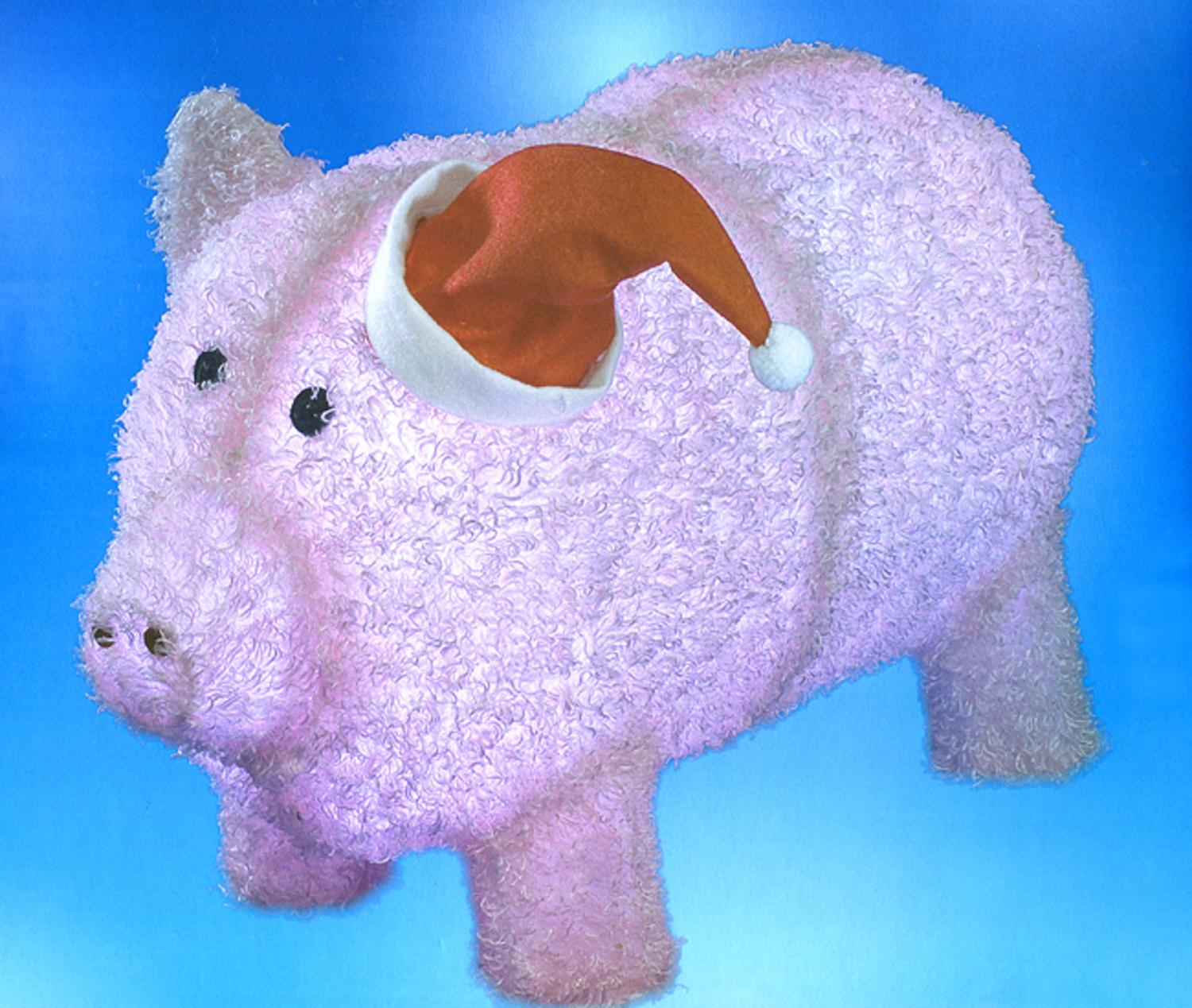 Lighted christmas pig outdoor decoration - 28 Pre Lit Led Outdoor Chenille Pig In Santa Hat Christmas Yard Art Decoration Walmart Com
