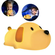 GLiving Night Light for Kids, Silicone LED Night Light,Baby Nursery Lamp with Touch Sensor,Timing and Dimming,Brightness Memory,Dual Light Mode,Cute Puppy Bedside Lamp,Desk Decor,Gift for Boys/Girls