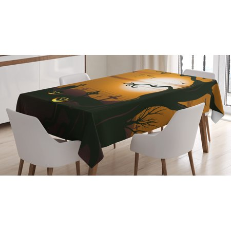 Halloween Decorations Tablecloth, Leafless Creepy Tree with Twiggy Branches at Night in Cemetery Graphic, Rectangular Table Cover for Dining Room Kitchen, 60 X 84 Inches, Brown Tan, by Ambesonne