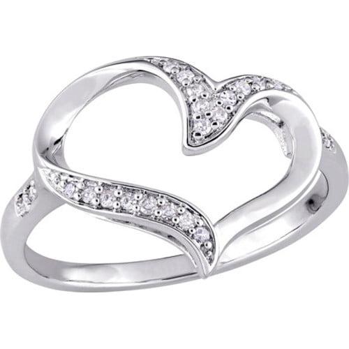 Women's Amour SHB000730 Diamond Heart Sterling Silver Ring