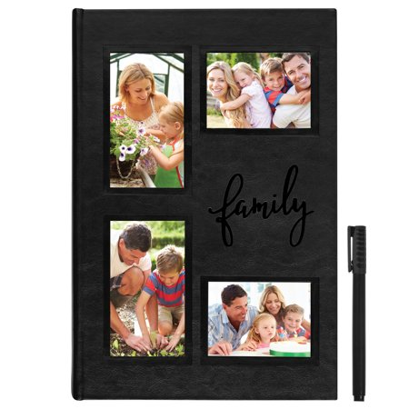 Embroidered Photo Album - Holds 300 Photos - Fits 4x6 Photos - Pen - Family Of 4 Photo Ideas