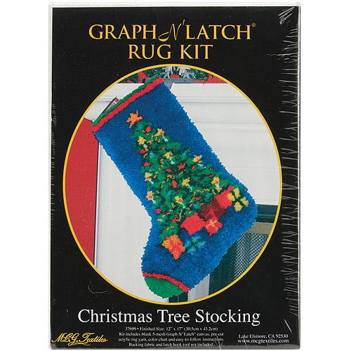 M C G Textiles Latch Hook Kit 12 x 17, Christmas Tree Stocking