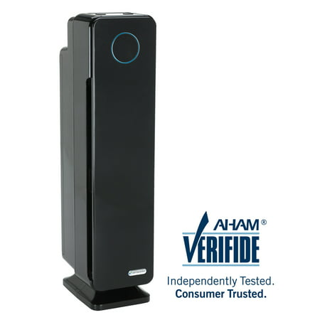 "GermGuardian AC5350B Elite 4-in-1 Air Purifier with True HEPA Filter, UV-C Sanitizer, Captures Allergens, Smoke, Odors, Mold, Dust, Germs, Pets, Smokers, 28"" Germ Guardian Large Room Home Air Purifier"