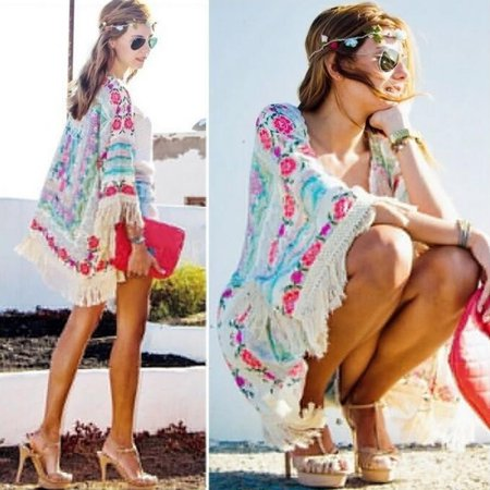 (Womens Summer Blouse Sexy Floral Shirt Loose Kimono Cardigan Casual Tops Shawl)