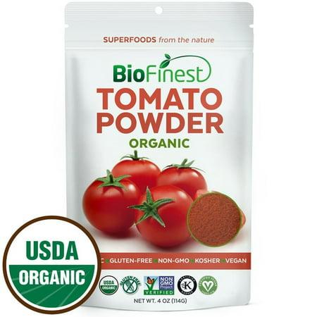 Biofinest Tomato Powder -100% Pure Antioxidants Superfood - USDA Certified Organic Kosher Vegan Raw Non-GMO - Boost Digestion Detox Lower Hypertension - For Smoothie Beverage (4 oz Resealable Bag)