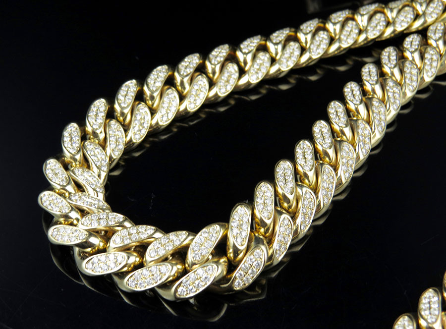 10K Yellow Gold Half Kilo Miami Cuban Link Diamond Chain 29.5 ct by