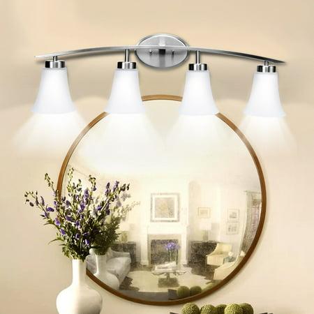 Silver Bathroom Vanity Light - 4-Light Vanity Light Nickel Finish With Glass Shade Bathroom Fixture UL Listed