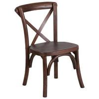 Stackable Kids Mahogany Wood Cross Back Chair