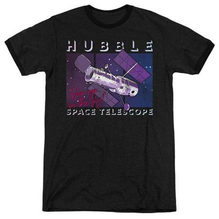 Trevco Sportswear NASA153-AR-1 NASA & Eye in the Sky-Adult Ringer T-Shirt, Black - Small ()