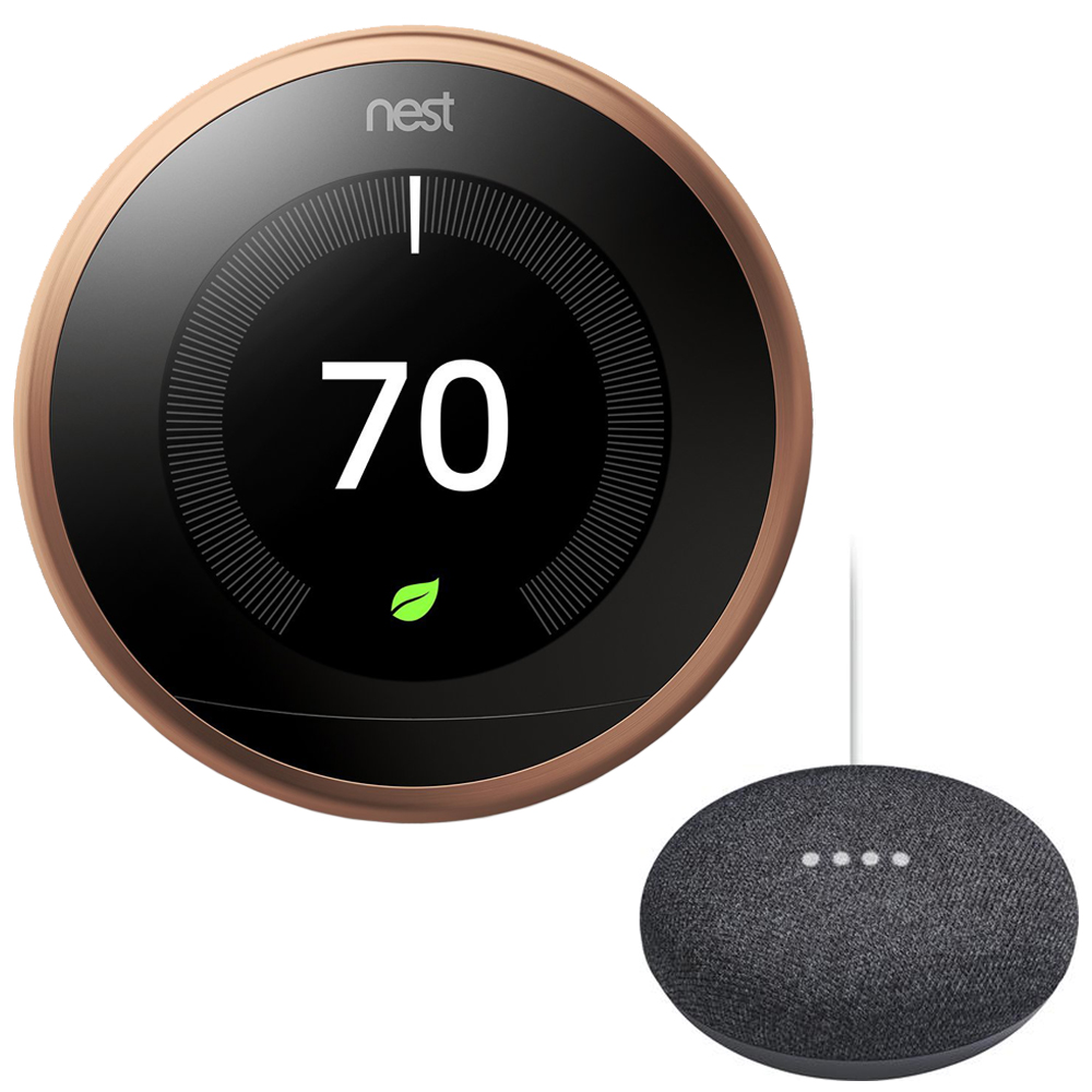 Nest T3021US Learning Thermostat - 3rd Gen - (Copperl) with Google Mini Home Smart Speaker with Google Assistant, Charcoal
