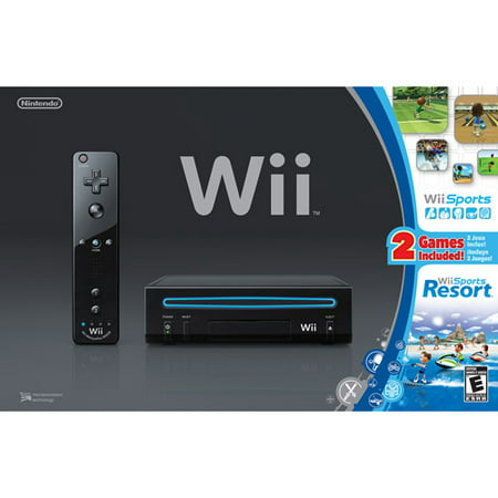 WII Console Black w/Wii Sports and Wii Sports Resort