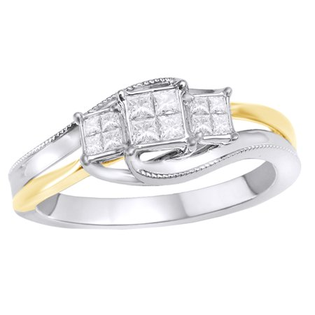 Princess Cut White Diamond Cluster Three Stone Ring in 10k Two Tone Solid (Two Tone Diamond Star)