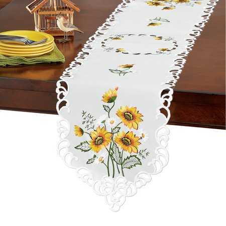 Elegant Table Runner / Topper with Embroidered Sunflowers, Runner