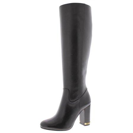 MICHAEL Michael Kors Womens Walker Leather Knee-High Boots Black 5 Medium (5 Black Leather)