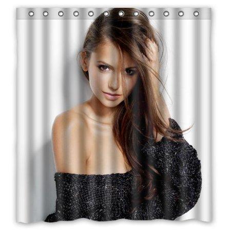 Deyou Sexy Star Nina Dobrev Woman Shower Curtain Polyester Fabric Bathroom Shower Curtain Size 66X72 Inches