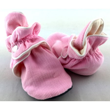Mod Mox Corduroy Outside Flannel Lined 100% Cotton Adjustable Baby Shoes (24 Months, Pink)