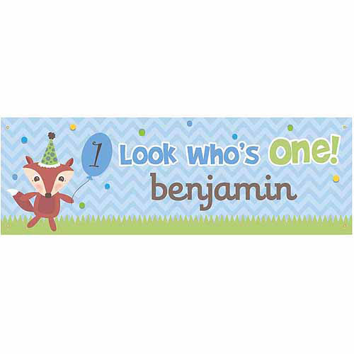 Personalized Look Who's One Birthday Banner For Him