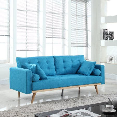 Mobilis Mid-Century Modern Tufted Linen Fabric Sleeper Futon Sofa, Light Blue
