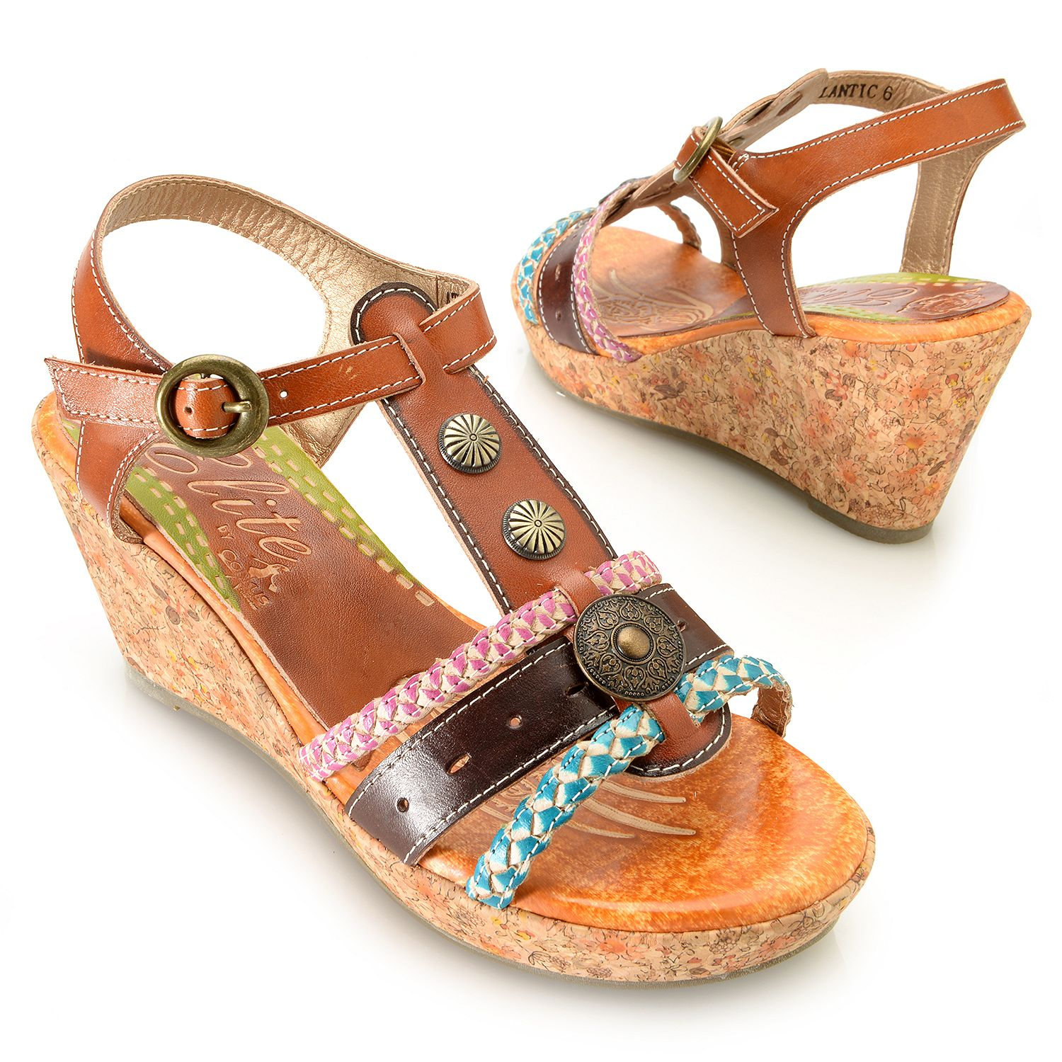 Corkys Elite Atlantic Hand-Painted Leather T-Strap Wedge Sandal (Amber, 6) by