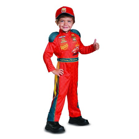 Cars 3 Lightning Mcqueen Classic Toddler Costume, Red, Medium (3T-4T), Product includes: jumpsuit with padded shoulders, detachable belt and hat. By Disguise - Lightening Mcqueen Costume