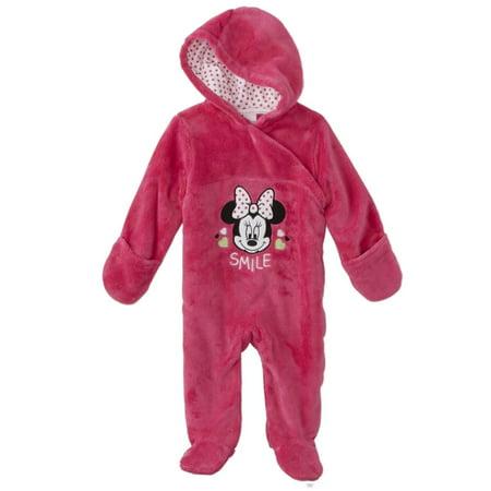 Disney Infant Girls Plush Pink Minnie Mouse Smile Pram Suit Bunting 6-9m](Infant Girl Bunting)