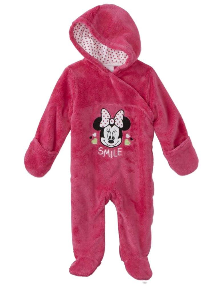 Disney Infant Girls Plush Pink Minnie Mouse Smile Pram Suit Bunting