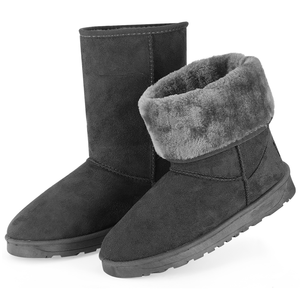 WOMENS LADIES CUSHION WALK WINTER SNOW WARM FUR LINING MID CALF WEDGE HEEL BOOTS