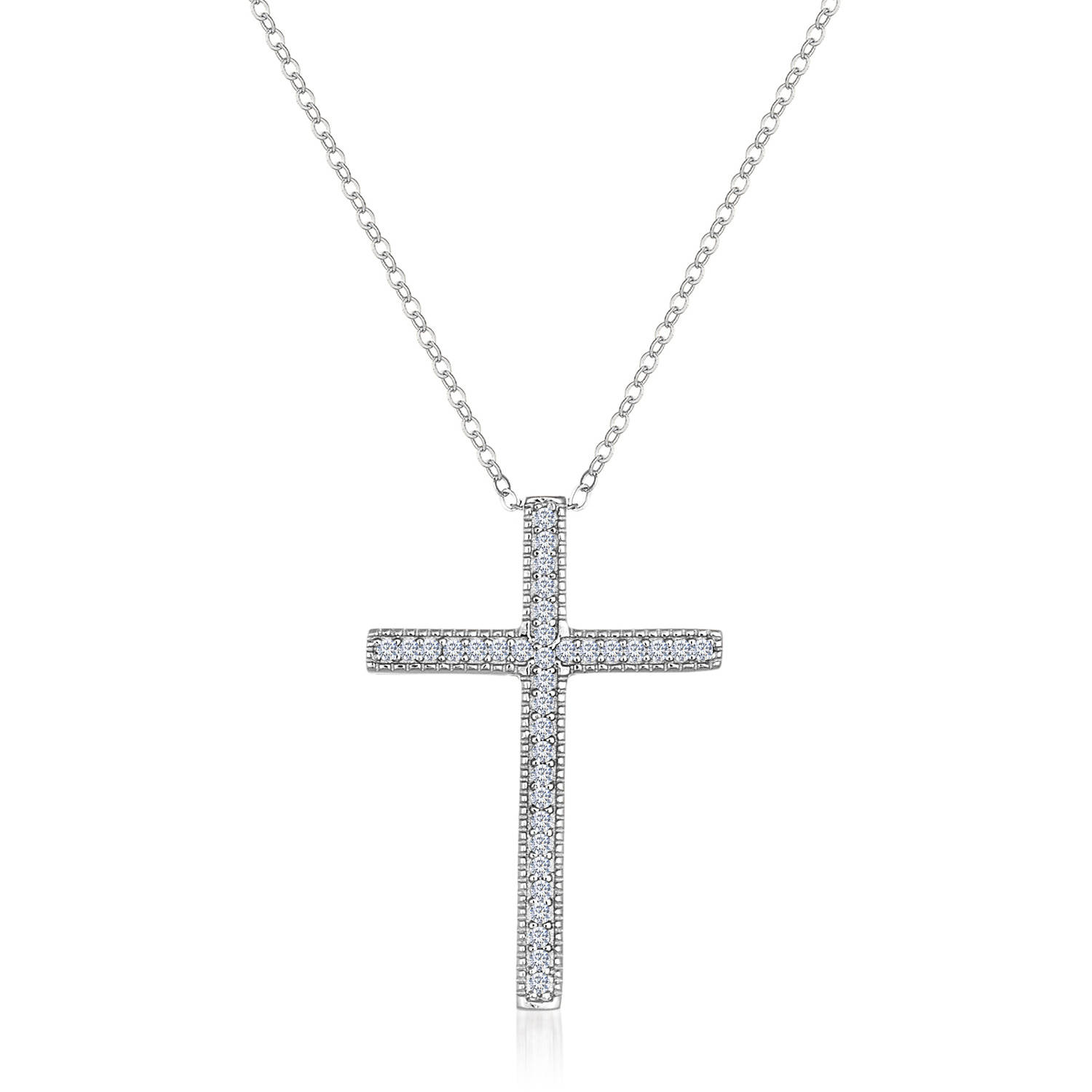 """Angelique Silver CZ 18kt White Gold over Sterling Silver Cross Necklace, 18"""""""