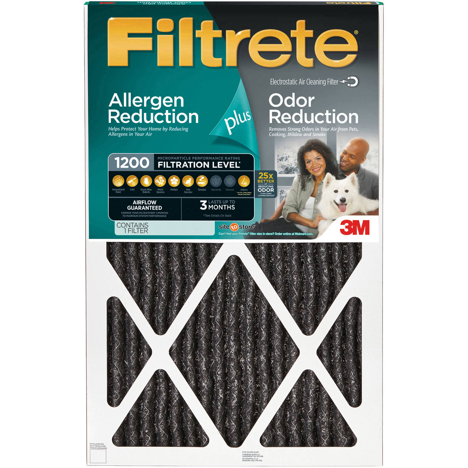 Filtrete Allergen Plus Odor Reduction Air and Furnace Filter, Available in Multiple Sizes