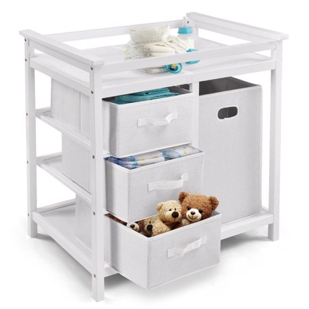 Costway White Infant Baby Changing Table w/3 Basket Hamper Diaper Storage Nursery (Diaper Change)
