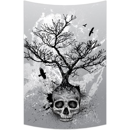 GCKG Creative Skull Tree Black Eagle Wall Art Tapestries Home Decor Wall Hanging Tapestry Size 60