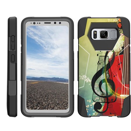 TurtleArmor ® | For Samsung Galaxy S8 Active G892 [Dynamic Shell] Dual Layer Hybrid Silicone Hard Shell Kickstand Case - Music Symbol Note ()