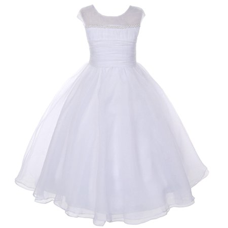 Kids Dream White Pearl Satin Organza Communion Dress Girl 4-14