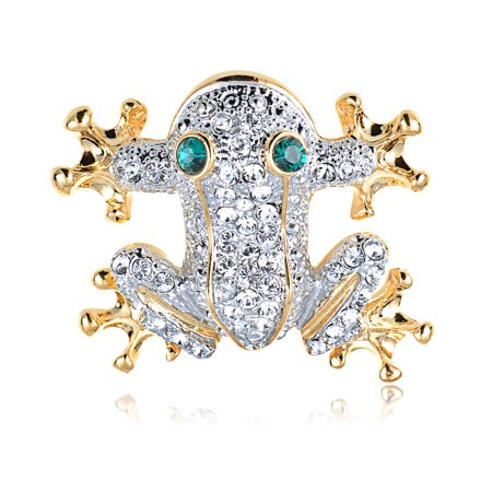 Vintage Monet Frog Brooch - Swarovski Crystal Elements Cute Happy Frog Prince Fashion Eye Fashion Pin Brooch