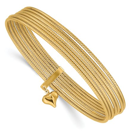 14kt Yellow Gold Slip On 7 Bangles Bracelet Cuff Expandable Stackable Bangle Set Fine Jewelry Ideal Gifts For Women Gift Set From Heart