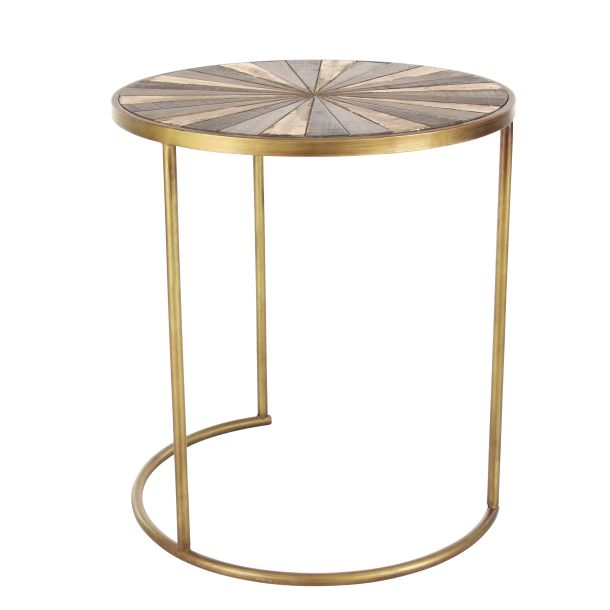 Decmode Set of 3 Rustic 19, 21, 23 Inch Metal and Wood Accent Tables, Brown by DecMode