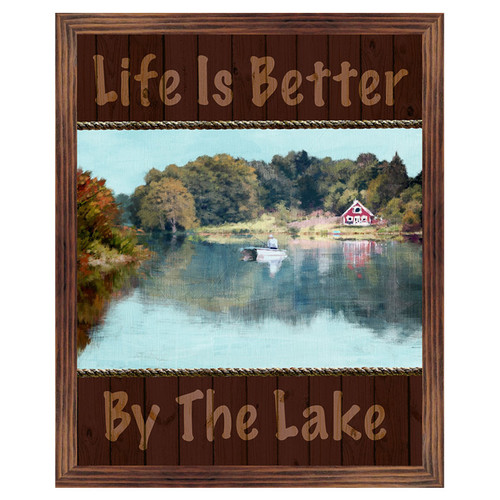 PTM Life is Better at The Lake Framed Print of Painting