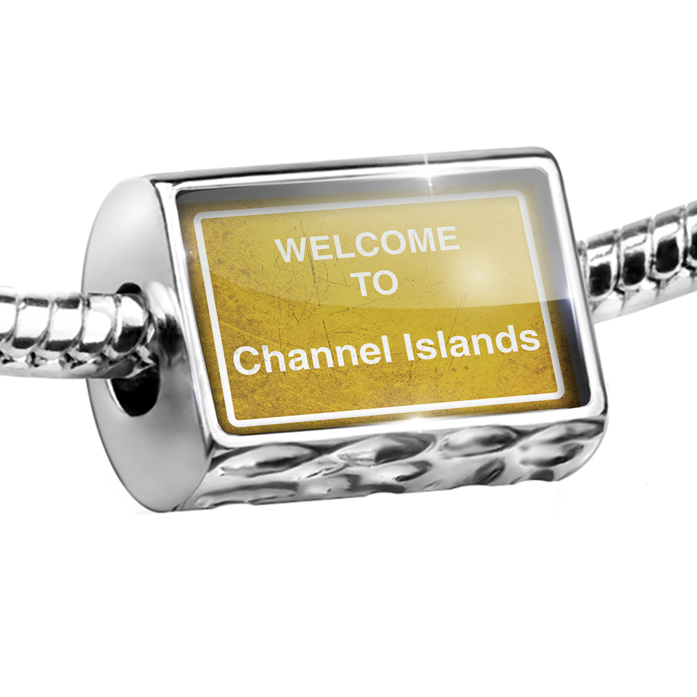 Bead Yellow Road Sign Welcome To Channel Islands Charm Fits All European Bracelets