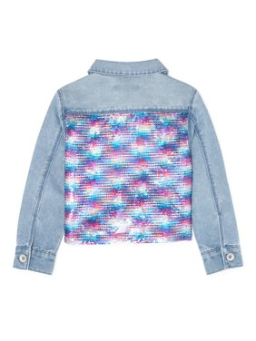 Squeeze Girls Reversible Flip Sequin Denim Jean Jacket, Sizes 7-12