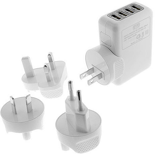 EZOPower 4-Port 2.1A USB International Travel Charger with International Wall Adapters