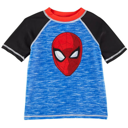 Bealls Marvel Spider Man Toddler Boys Raglan Rashguard 3T Blue/Black/Red (Toddler Spiderman Costume 3t)