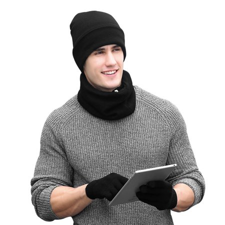 Vbiger Winter Warm Beanie Hat + Scarf + Touch Screen Gloves , Unisex 3  Pieces Cap Set for Men Women, Black - Walmart.com 5e9aafd0052