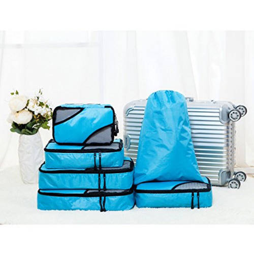 ALEKO TRBG6BL 6 Piece Packing Cubes Travel Luggage Organizer Pouches Color Blue