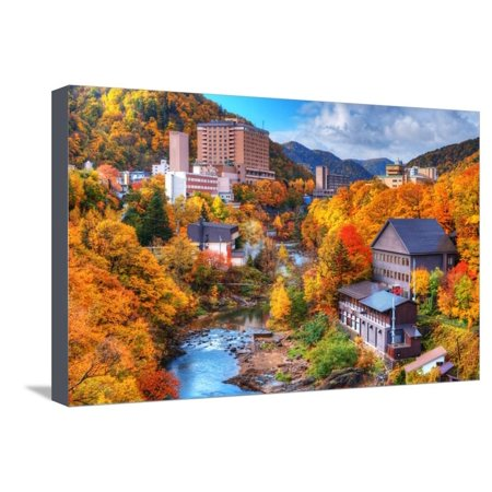 The Hot Springs Resort Town of Jozankei in the Northern Island of Hokkaido, Japan. Stretched Canvas Print Wall Art By