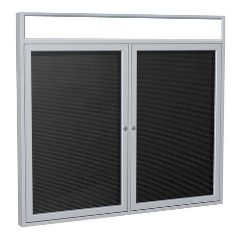 Ghent PABL5-BK 36 in. x 48 in. 2-Door Satin Alum Frame with Illuminated Headliner Enclosed Black Changeable Letterboard